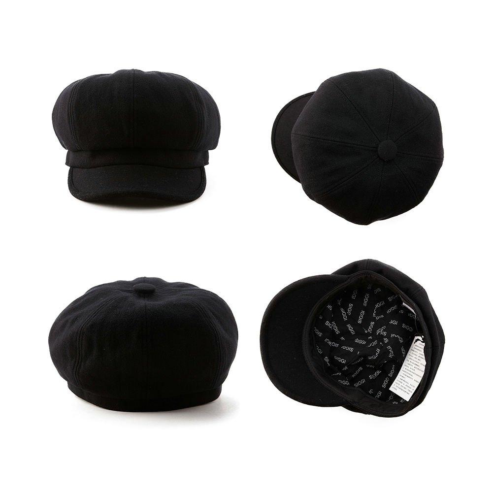 SIGGI Womens Merino Wool Visor Beret Newsboy Cabbie Cap Winter Hats with Lining Spring 67145_black,Medium by SIGGI (Image #3)