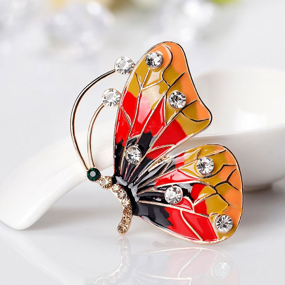 AOCHEE Colorful Butterfly Crystal Rhinestones Enamel Paint Pearls Brooch Lapel Pin Jewelry for Women Girls (2) by AOCHEE (Image #4)