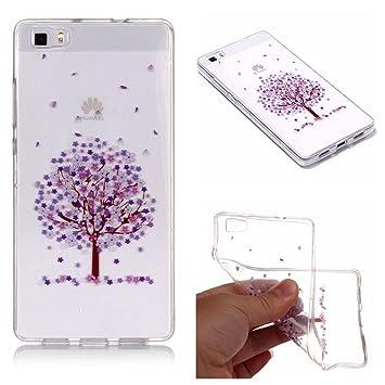 QFUN Funda Huawei P8 Lite 2016 Silicona Transparente, Suave Carcasa Flexible con Dibujos [Cerezo Morado] Ultra Slim Fina Gel TPU Bumper Case ...