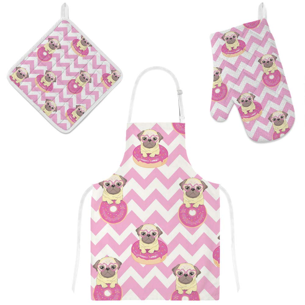 Top Carpenter Polyester Kitchen Oven Mitts Glove Potholder Apron 3Pcs Set Funny Pug and Donut Non Slip Heat Resistant Mitts for Baking Cooking BBQ