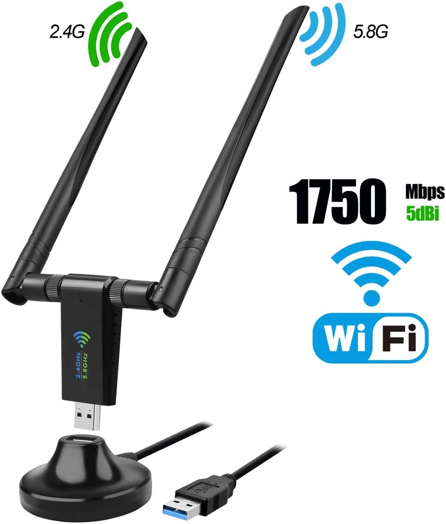USB WiFi Adapter, 1750Mbps Dual Band 2.4GHz/450Mbps 5.8GHz/1300Mbps High Gain 5dBi Antennas USB 3.0 Wireless Network Adapter for PC Desktop Laptop with Windows 10/8/7/XP/Vista, Mac OS