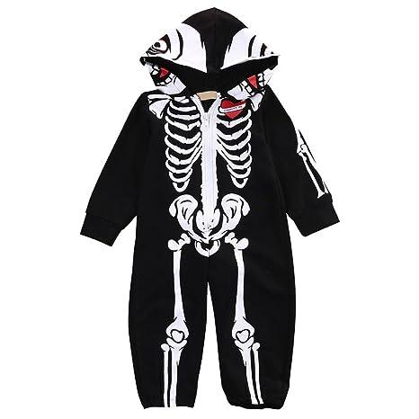 jianfeng bebé mono niña niño manga larga Pelele Cool Esqueleto Patrón con capucha mono, negro