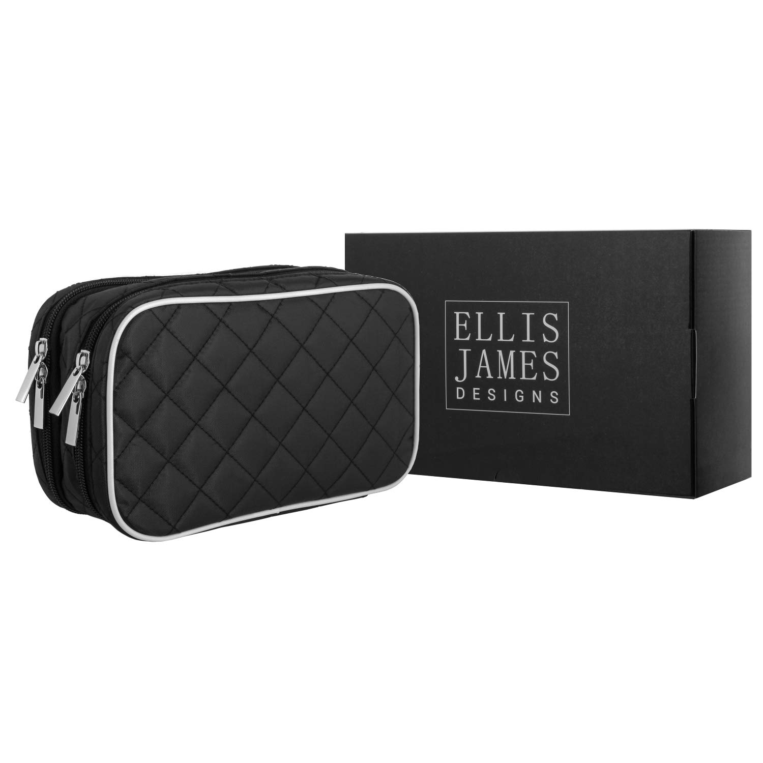 Ellis James Designs Quilted Travel Jewellery Organiser Bag Case - Black - with Makeup Pouch Compartments Soft Padded Travel Jewellery Roll 2 and Make Up Bags 2-in-1 Cosmetic Cases with Necklace Holder ELJ0052