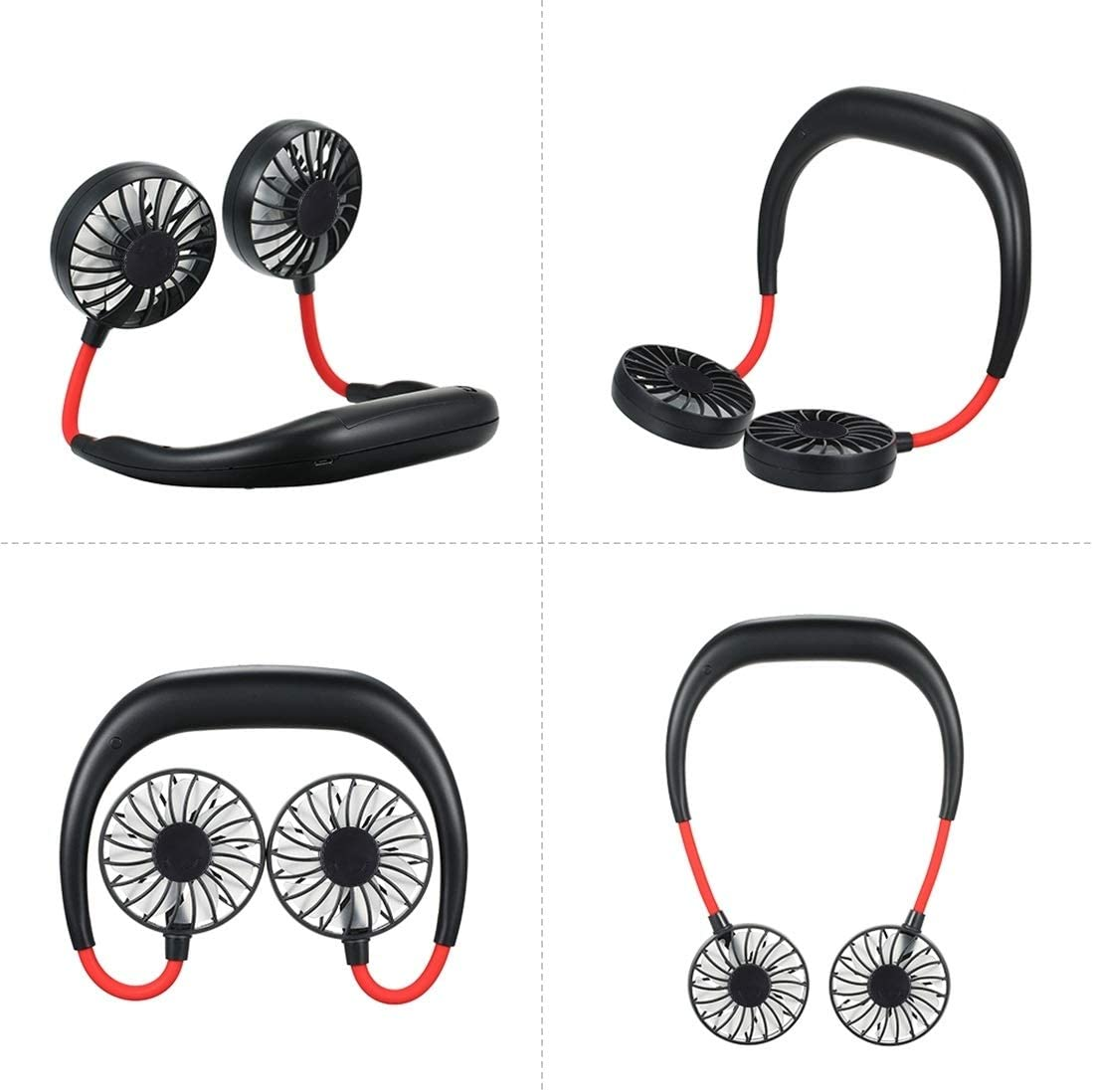 Color : Coral Red Cooling Fan Sprayeross YHM 0.3W-1.2W Portable Adjustable Micro USB Charging Hanging Neck Type Aromatherapy Electric Sport Fan Black