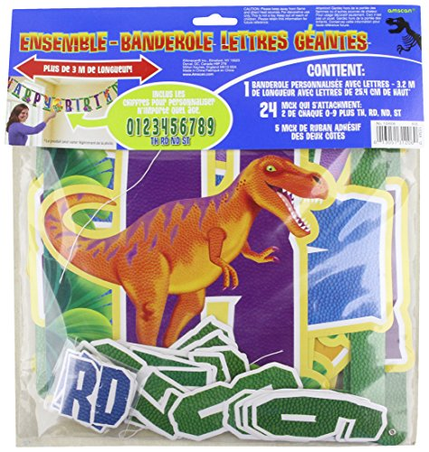 Amscan Prehistoric Party Birthday Party Jumbo Add An Age Letter Banner, 10-1/2' x 10
