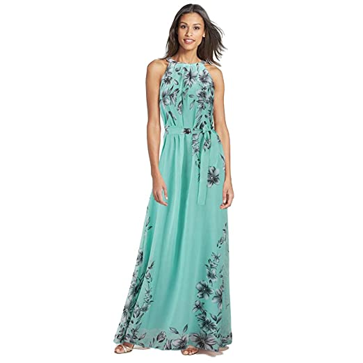 Fashion Story Women Easter Summer Green Evening Gown Floral Long Lace Cocktail Maxi Chiffon Slip Dresses