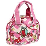 Belvah Chevron Owl Flower School Camp Work Girls Lunch Box Bag Jp Pink White
