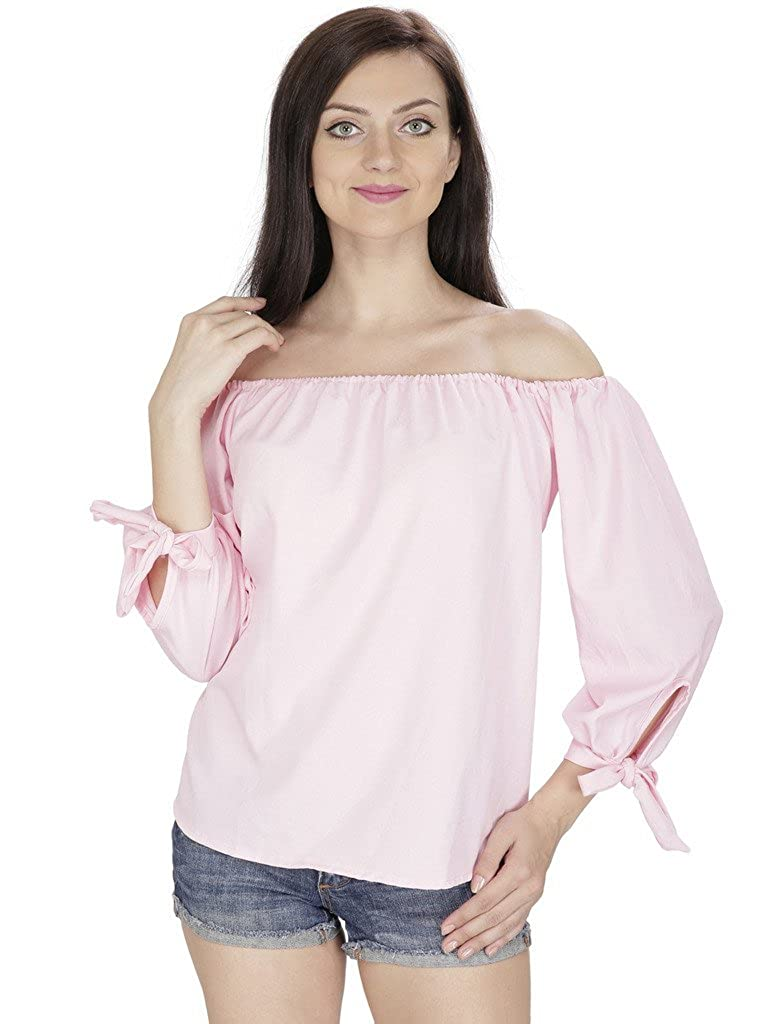 2f1f2c378b98 SVT ADA COLLECTIONS Pink Poly Crepe Off The Shoulder Summer TOP  (048804 Pink Medium)  Amazon.in  Clothing   Accessories