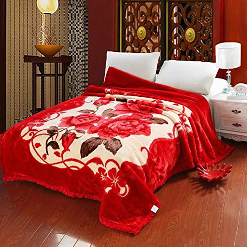 Znzbzt Wedding red blanket thick-pile carpet in winter cover wedding celebration red double blanket ,180X220-6 catties of comparable heart - Red by Znzbzt