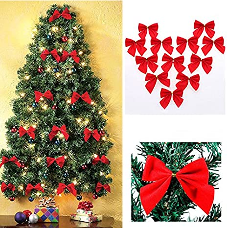 Gold Christmas Ribbon Bows Ornaments Christmas Tree Hanging Decoration by Sunshine D Party Home Bow 12 Pcs Red,Silver,Gold
