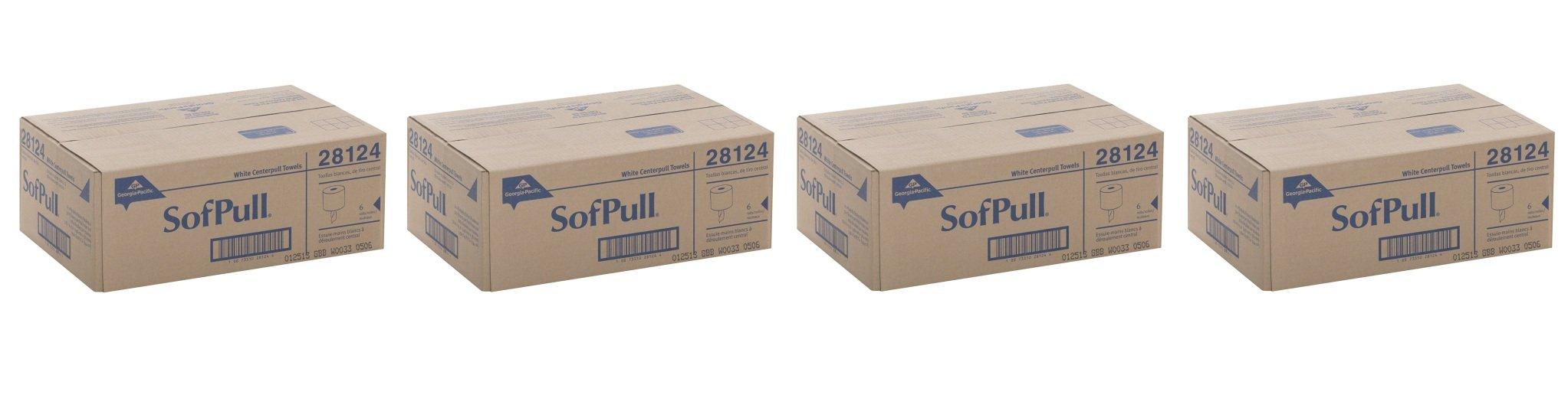 Georgia-Pacific SofPull 28124 White IoYBjS Premium 1-Ply Regular Capacity Centerpull Paper Towel, 4Pack (6 Rolls)