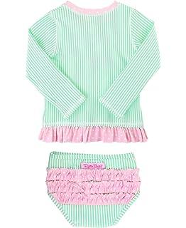 5760a94130 RuffleButts Little Girls Rash Guard 2-Piece Swimsuit Set - Long Sleeve  Bikini with UPF
