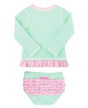 2c2784e00c RuffleButts Little Girls Mint Seersucker Long Sleeve Rash Guard Bikini - 2T