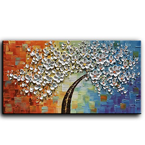 baccow 3D Tree Paintings 2448, Hand Painted Oil Paintings White Wall Painting Picture Decor, Framed Comporary Wall Art for Living Room Bedroom Kitchen Dining Room Office