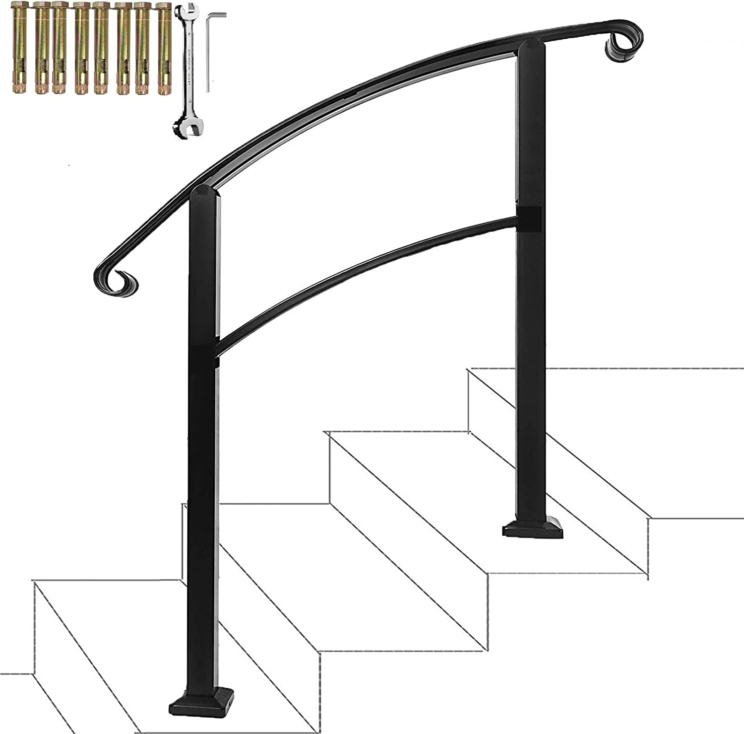 Atemou Stair Handrail 3-Step Adjustable Stair Rail Wrought Iron Handrail 1 or 3 Steps Handrail with Installation Kit for Indoor Outdoor Steps