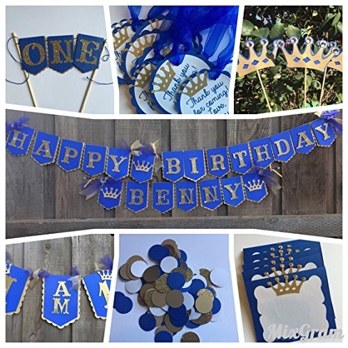 Little Prince royal prince theme birthday party package royal blue and gold First birthday package by Glittermama