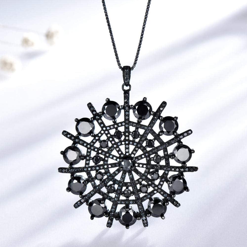 Foxmool Collar De Espinela De Piedras Preciosas Negras Colgante Perla Sólido 925 Plata Esterlina Joyería Fina De Mujer