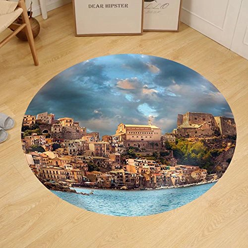 Gzhihine Custom round floor mat Scilla Castle on the Rock in Calabria During Sunset - Outlet Rock Store Castle