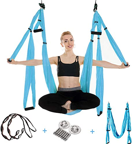 UCEC Aerial Yoga, Yoga Hammock Set, Trapeze Yoga 2 Ceiling Hooks 2 Extension Straps 2 Carabiners Installation Instruction Carry Bag – Flying Yoga Inversion Tool for Women Men