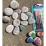Set of 12 Adult Coloring Rocks ~ Zentangle ~ Relaxation