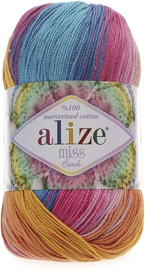 Hilo de algodón 100% mercerizado Alize Miss Batik hilo de ...