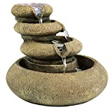 Sunnydaze Three Tier Flowing Tabletop Water Fountain with LED Lights, 8 Inch