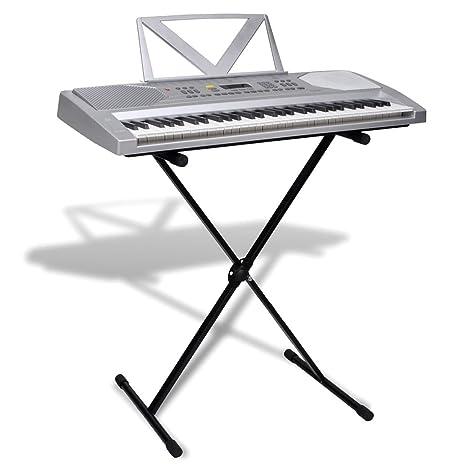 vidaXL 61 Teclas Piano Eléctrico +Atril +Soporte Ajustable Teclado Musical Apoyo Músico
