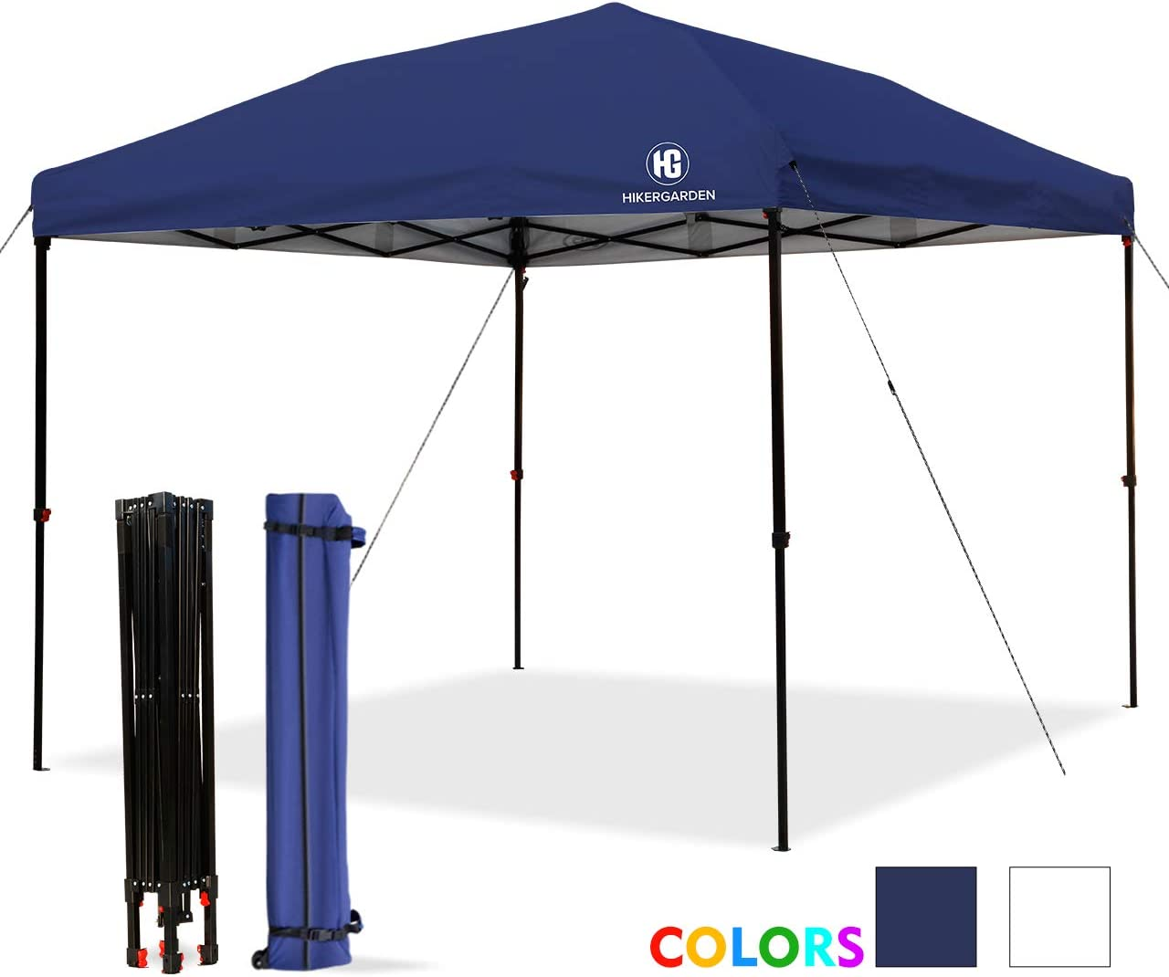 HG Pop-up-Canopy-Tent-10×10 FT, UV 50 and Waterproof Shelter, 3 Adjustable Height with Wheeled Carrying Bag, 4 Ropes and 4 Stakes, Outdoor and Commercial Instant Canopy