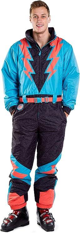 Men's Vintage Pants, Trousers, Jeans, Overalls Mens Slope Savage Lightning Bolts Ski Suit Snowsuit $199.99 AT vintagedancer.com