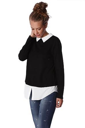 Q2 Women's 2 In 1 Black Jumper White Shirt: Amazon.co.uk: Clothing