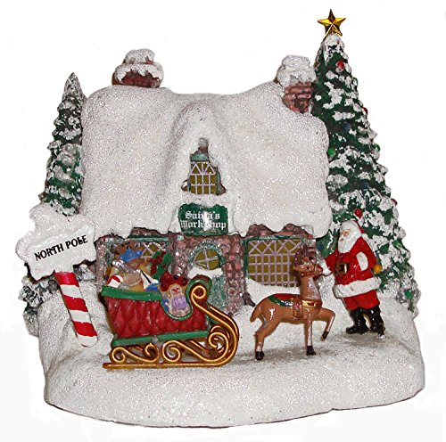 Thomas Kinkade Teleflora 2010 Lighted Christmas Santa's - Thomas Kinkade Lighted Cottage