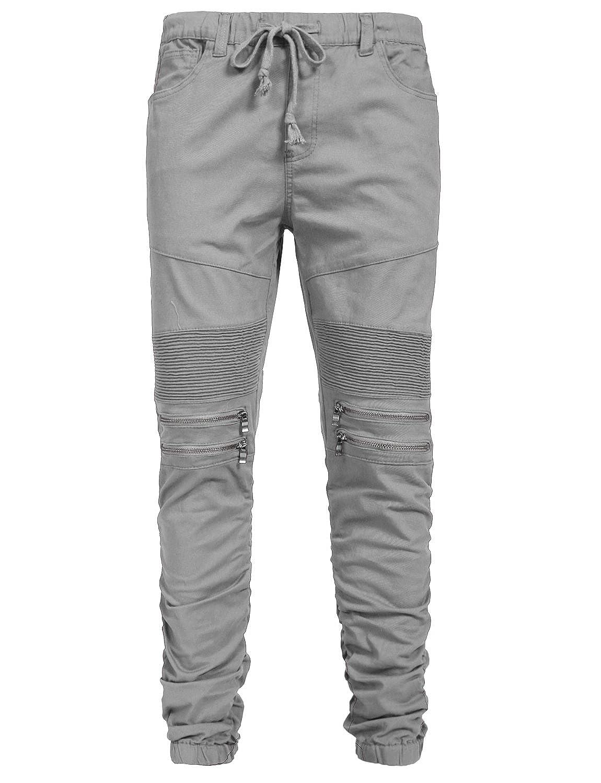NE PEOPLE Mens Casual Elastic Front Zipper//Terry Fleece Jogger Pants XS-5XL
