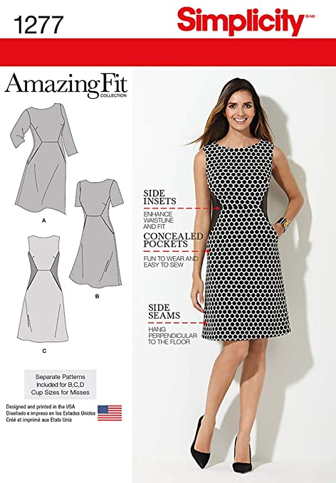 Simplicity Sewing Pattern 1277: Miss and Plus Amazing Fit Dress ...