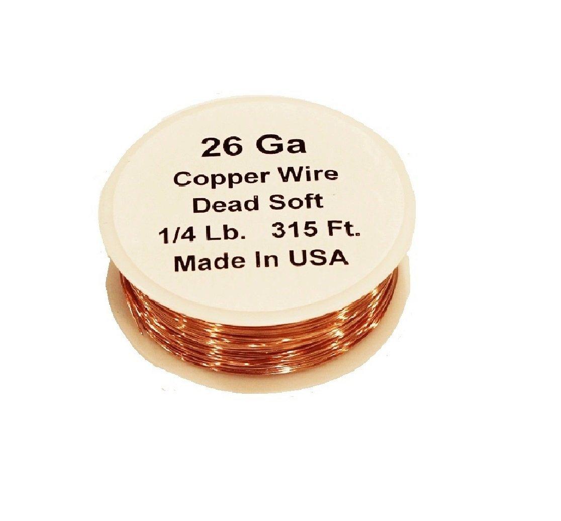 Spool 1//4 Lb. - 315 Ft. 26 Ga Solid Bare Round Copper Wire