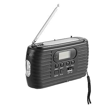 Dynamo/Solar Emergency Radio con Radio Am/FM y Reproductor de Música y Linterna (Color Negro): Amazon.es: Electrónica