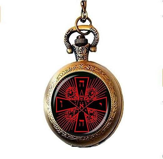 Fashion Jewelry - Collar de reloj de bolsillo con diseño de rosicruciano y cruz, diseño de rosas, color rosa: Amazon.es: Hogar