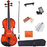 ADM Acoustic Violin 3/4 Size Handcrafted Solid Wood Student Starter Kit, Red Brown