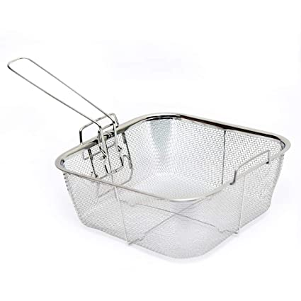 Ad Fresh Wire Mesh Square Basket Strainer for Frying (Silver)