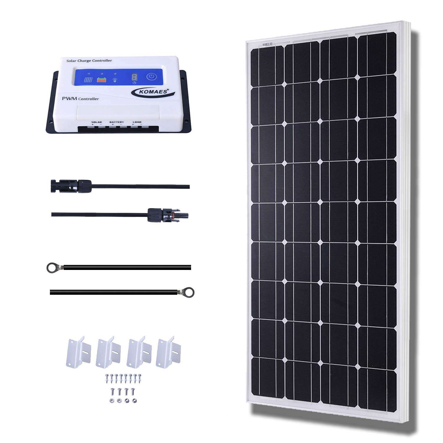 KOMAES 100 Watts 12Volts Monocrystalline Solar Panel Kit with 20Amp PWM Solar Charge Controller, 20ft Tray Cable, 20ft MC4 Cable, Z Brackets for RVs,Trailers,Boats,Sheds,Cabins by KOMAES