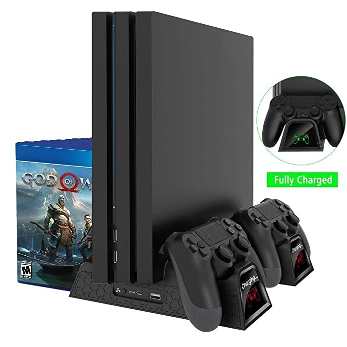 OIVO Regular PS4/ PS4 Slim/ PS4 Pro Cooler, Multifunctional Vertical Cooling Stand, PS4 Controller Charger with LED Indicators,Charging Dock Station with 12PCS Games Storage for PS4,PS4 Slim,PS4 Pro