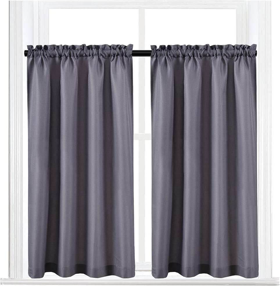 Valea Home Waffle Weave Textured Half Window Tier Curtains for Kitchen Water Repellent Window Covering Bathroom Short Curtains, 72