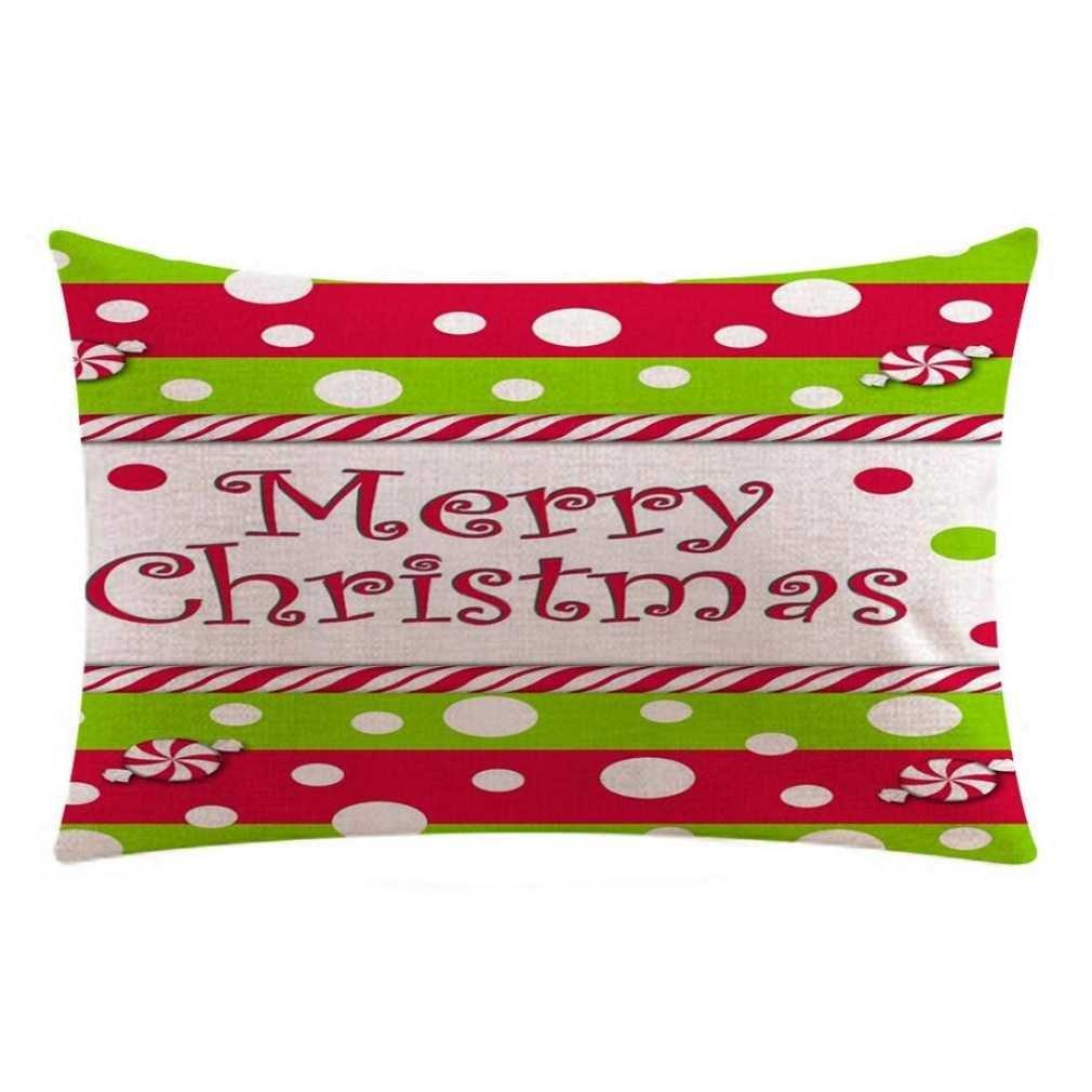 federe cuscini, Fittingran Federa di Natale di Natale con federe in lino Federa di fedi natalizie in lino Cuscino per divano in lino Home Decor Fodera per cuscino multicolore
