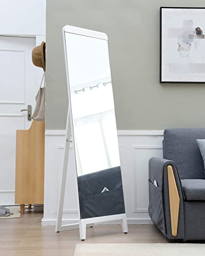 TinyTimes 67 x18 Full Length Mirror, Floor Mirror with Stand, Beech, Rounded Corner, Freestanding or Lean on The Wall, for Bedroom, Living Room, Dressing Room – White,