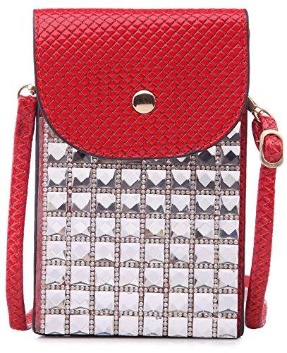 BHBS Cartera para Cruzar tipo Mensajero e Ideal para el Teléfono Móvil con Detalle de Cristales Cuadrados 11x17 cm (LxA) Rojo