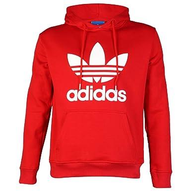 adidas para Hombre Originals Logo Sudadera con Capucha Jersey Sudadera con Capucha Top, Niño Hombre, Red/White, Large: Amazon.es: Deportes y aire libre