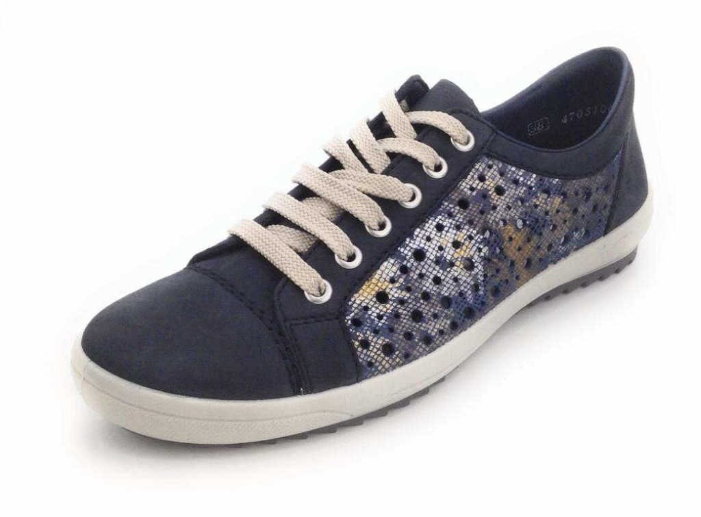 Rieker M6015, Zapatillas para Mujer 43 EU ozean/blau-metallic