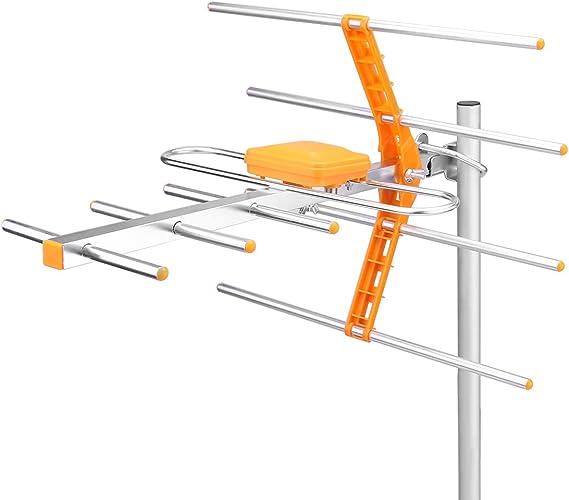 OurLeeme Alcance de recepción 470MHz-860MHz Antena Exterior de Alta Ganancia Antena HDTV Digital amplificada al Aire Libre/ático/Techo HDTV Wirth ...
