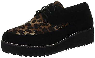 62bb404a6c0f Odeon Women's Eupraxia Black/Leopard Casual Loafers LS6823 5 UK ...