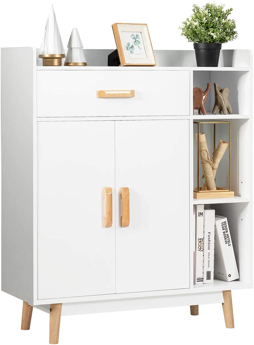 Giantex Floor Storage Cabinet Free Standing Cupboard Chest with 1 Drawer, 2 Doors, 3 Shelves & 4 Rubber Wood Legs for Bedroom Home Office Sideboard Storage Organizer, White