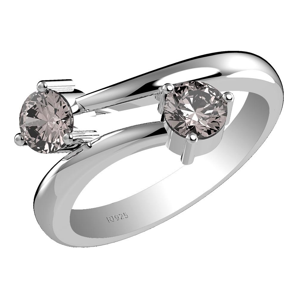 1.20ct, Genuine Morganite 5x5mm Round & Solid .925 Sterling Silver Ring (Size-7)